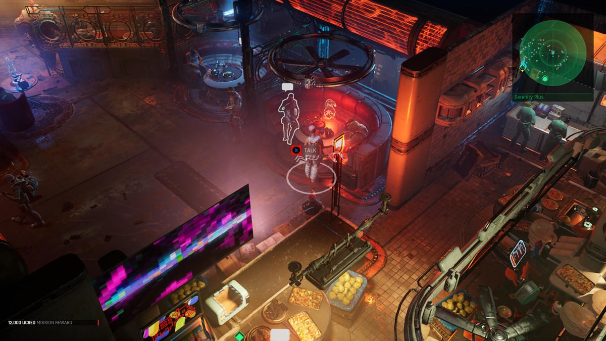 A cyberpunk bar scene in The Ascent