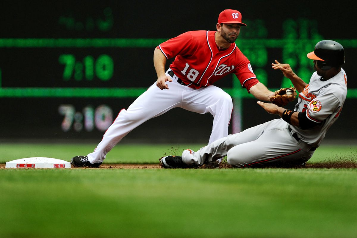 WASHINGTON, DC - JUNE 18: Danny Espinosa #18 of the Washington Nationals tags out Derrek Lee #25 of the Baltimore Orioles at Nationals Park on June 18, 2011 in Washington, DC. (Photo by Patrick Smith/Getty Images)