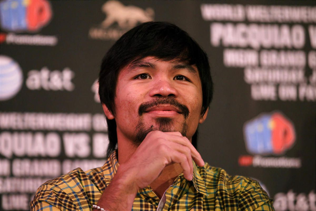 Manny Pacquiao attends a press conference announcing his World Boxing Organization welterweight championship fight against Timothy Bradley at The Beverly Hills Hotel on February 21, 2012 in Beverly Hills, California.