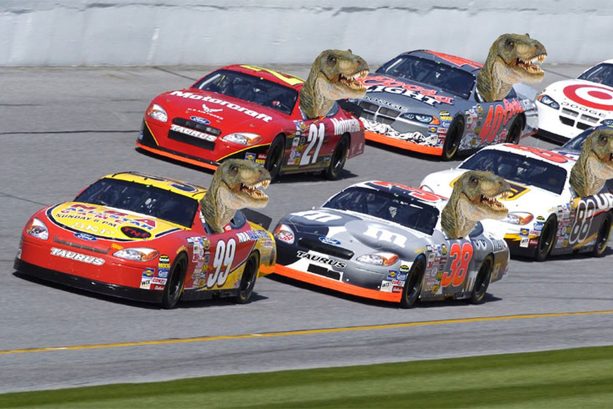 I said keep your eyes on the road, Dinosaur racecar drivers!