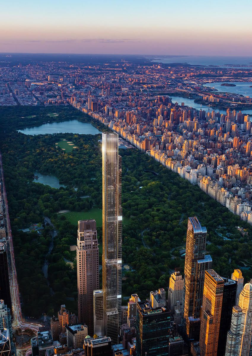 An aerial view of the Central park Tower, a tall skyscraper adjacent to Central park. There are other tall skyscrapers flanking Central park Tower. There is a sunset in the sky.