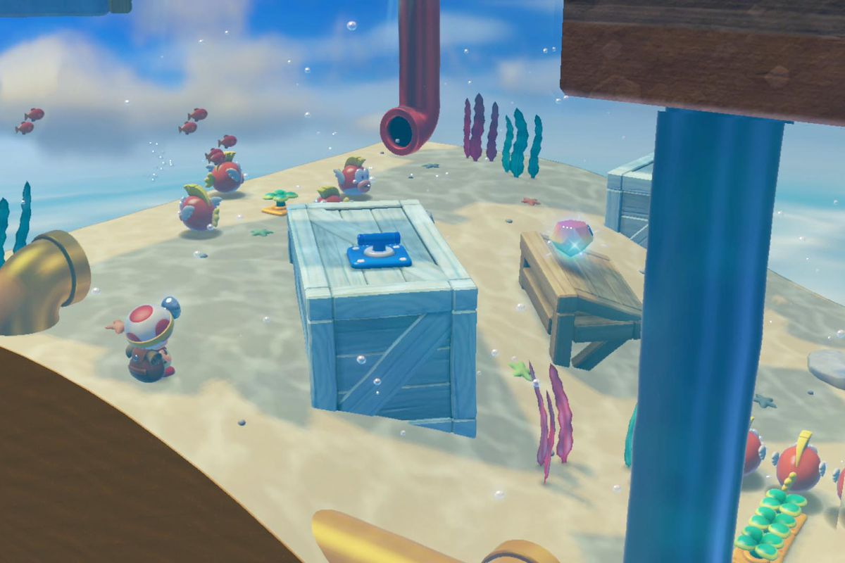 Captain Toad: Treasure Tracker 'Briny Bowl Swimming Hole' Super Gems