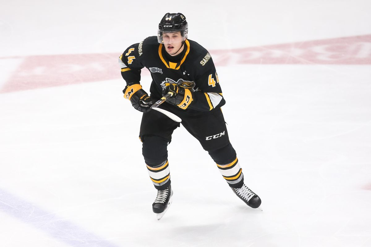 Jacob Perreault #44 of the Sarnia Sting skates during an OHL game against the Oshawa Generals at the Tribute Communities Centre on October 18, 2019 in Oshawa, Ontario, Canada.
