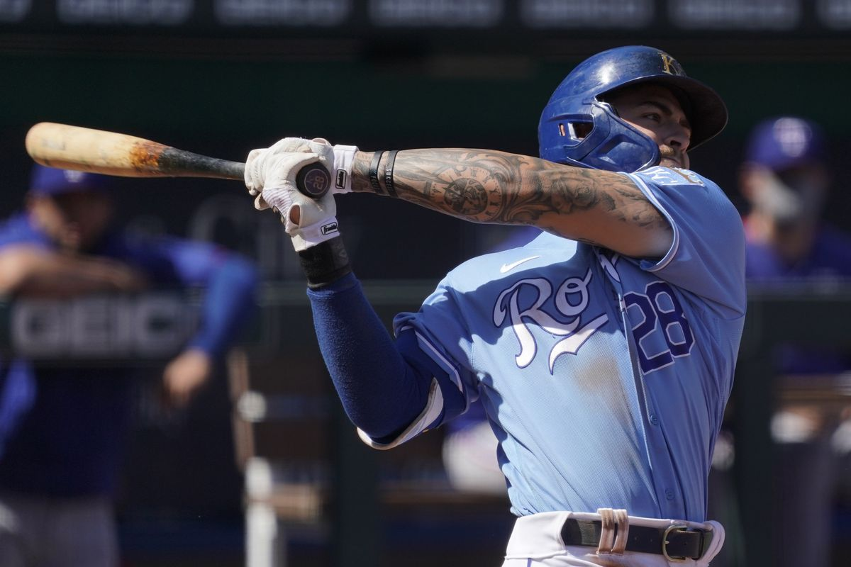 Kyle Isbel #28 of the Kansas City Royals hits in the fifth inning against the Texas Rangers at Kauffman Stadium on April 4, 2020 in Kansas City, Missouri.