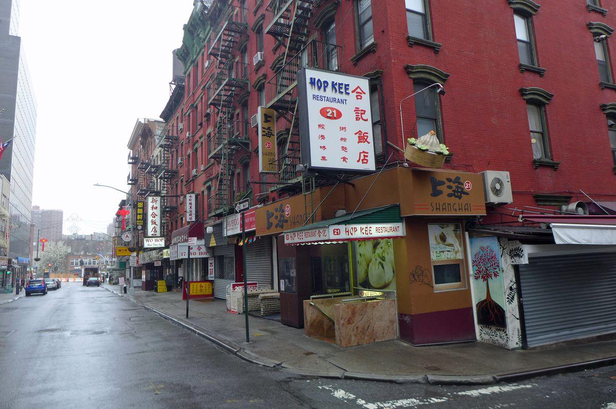 Lower Mott Street, empty in the rain.