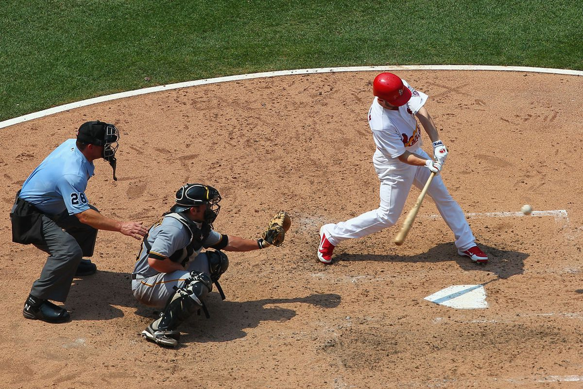 ST. LOUIS, MO - JULY 1: Shane Robinson #43 of the St. Louis Cardinals collects the game-winning hit against the Pittsburgh Pirates at Busch Stadium on July 1, 2012 in St. Louis, Missouri.  (Photo by Dilip Vishwanat/Getty Images)