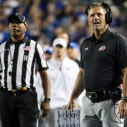 Utah Utes head coach Kyle Whittingham reacts after Utah Utes linebacker Sunia Tauteoli (10) was ejected for targeting at LaVell Edwards Stadium in Provo on Saturday, Sept. 9, 2017.