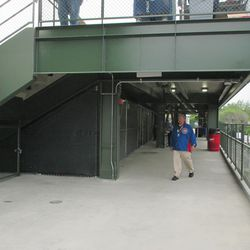 6:09 p.m. The patio walkway under the right-field porch -