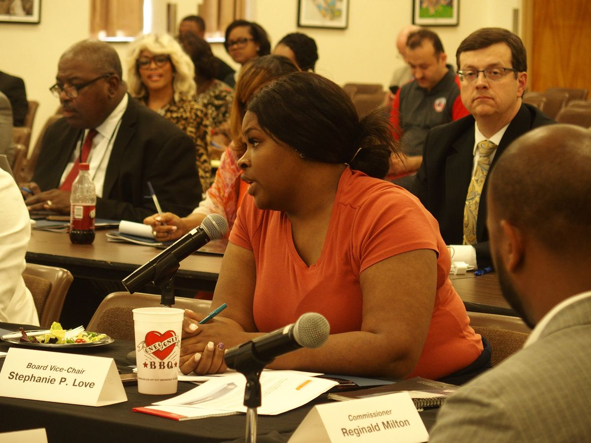 School board member Stephanie Love speaks during the first ever joint meeting between commissioners and the Shelby County Schools board in April.