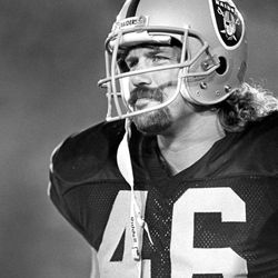 FILE - This Aug. 15, 1987, photo provided by the NFL shows Los Angeles Raiders tight end Todd Christensen (46) during a preseason football game against the San Francisco 49ers in Los Angeles. Christensen died from complications during liver transplant surgery. He was 57. Christensen's son, Toby Christensen, said his father passed away Wednesday morning, Nov. 13, 2013 at Intermountain Medical Center near his home in Alpine, Utah. (AP Photo/NFL Photos)