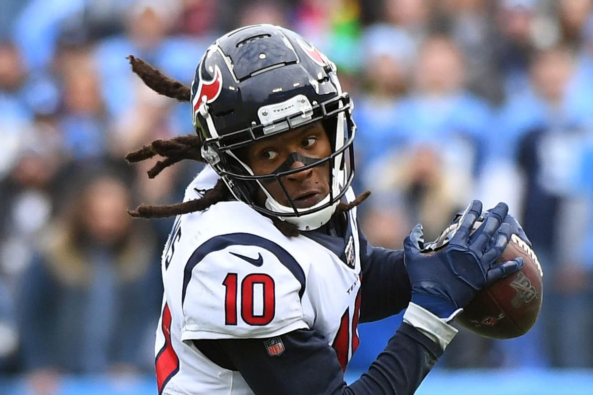 Houston Texans wide receiver DeAndre Hopkins after a catch during the second half against the Tennessee Titans at Nissan Stadium.