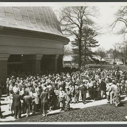 A crowd of LDS general conference goers outside the Salt Lake Tabernacle in April 1953, less than decade after, conference was practically shutdown during the World War II years.