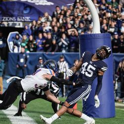 BYU wide receiver Samson Nacua misses the ball for a potential touchdown as Boise State safety Alexander Teubner defends during an NCAA college football game at LaVell Edwards Stadium in Provo on Saturday, Oct. 9, 2021.