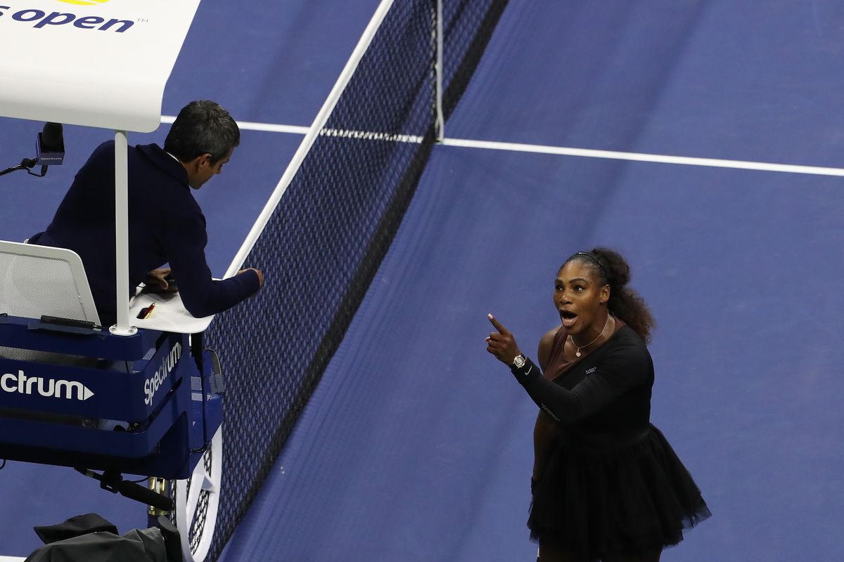 Serena Williams argues with umpire Carlos Ramos during her Women's singles finals match against Naomi Osaka at the 2018 US Open.