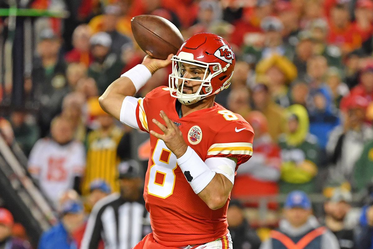 Quarterback Matt Moore of the Kansas City Chiefs throws a pass against the Green Bay Packers during the second quarter at Arrowhead Stadium on October 27, 2019 in Kansas City, Missouri.