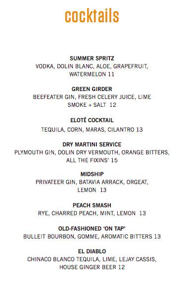 Townsman cocktail menu