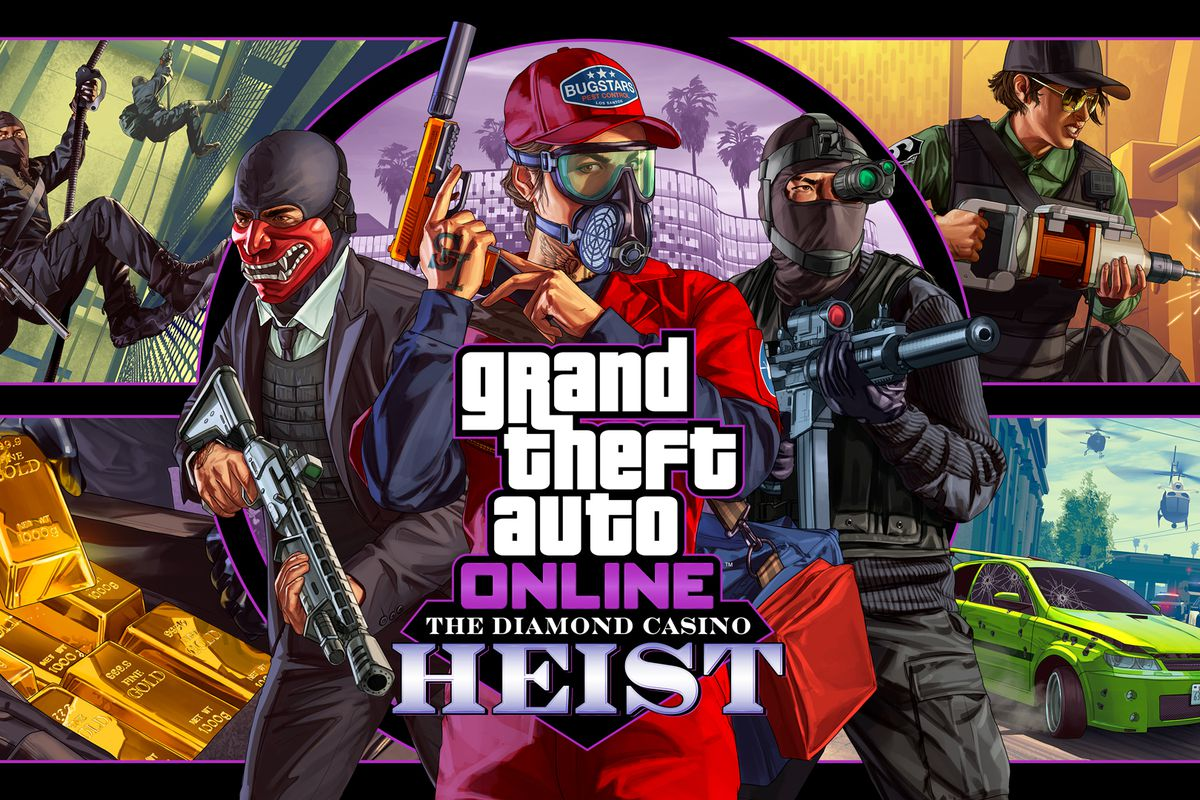 Key art for the Diamond Casino Heist features players in disguise, weapons at the ready. In the upper right corner a woman goes to work with a small piledriver, while a bag is filled with gold bars below.
