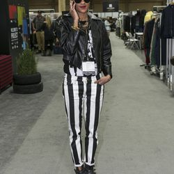 The punky black-and-white jeans are a nice touch.