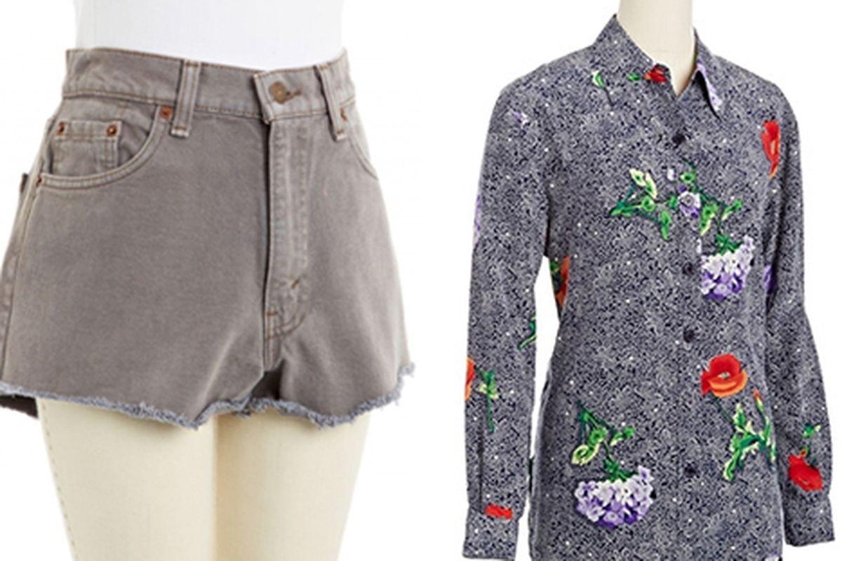 Levi's shorts and Diane von Furstenburg blouse. Images via NiftyThrifty.