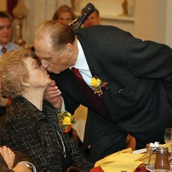 President Thomas S. Monson gives his wife, Frances, a kiss at the 60th anniversary celebration for President Thomas S. Monson and Frances J. Monson at the Lion House in Salt Lake City Utah, Utah, Oct. 6, 2008.