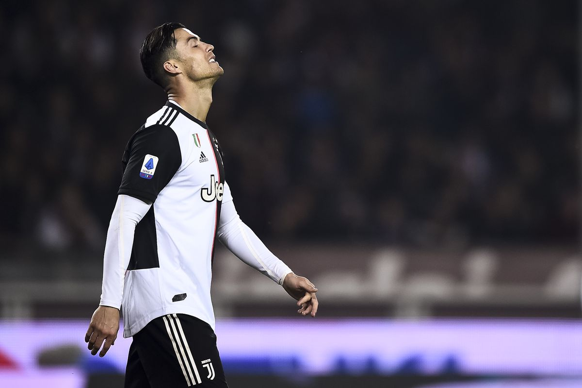Cristiano Ronaldo of Juventus FC looks dejected during the...