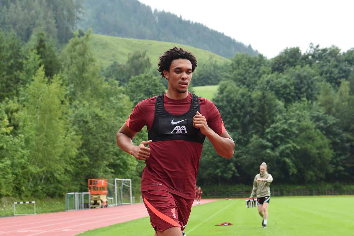 Trent Alexander-Arnold of Liverpool running on a track during a training session on July 17, 2021 in Austria.