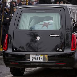 The casket for Officer Samuel Jimenez arrives  for his funeral in Des Plaines. | Ashlee Rezin/Sun-Times