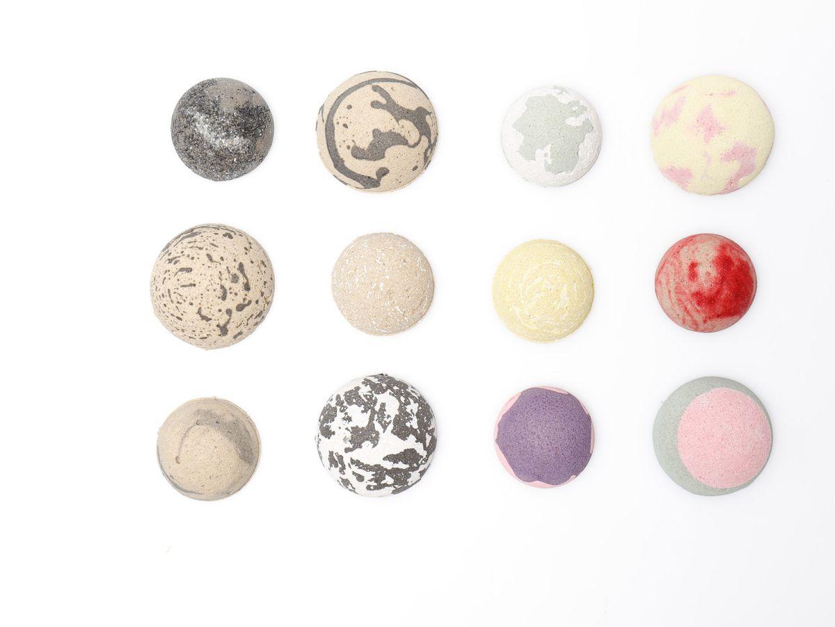 Balls of colored concrete