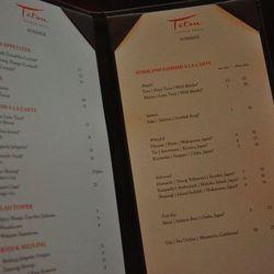 The sushi, sashimi, appetizer and ceviche menu at Tetsu.