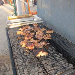 Franklin Becker (Abe and Arthur's). Grilled Kalamansi-Spiced Chicken Thighs Served with Scallion-Tomatillo Salsa