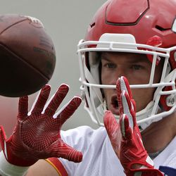 Kansas City Chiefs defensive back Daniel Sorensen (49) linebacker participates in a drill during the team's organized team activity at its NFL football training facility Wednesday, May 24, 2017, in Kansas City, Mo. (AP Photo/Charlie Riedel)