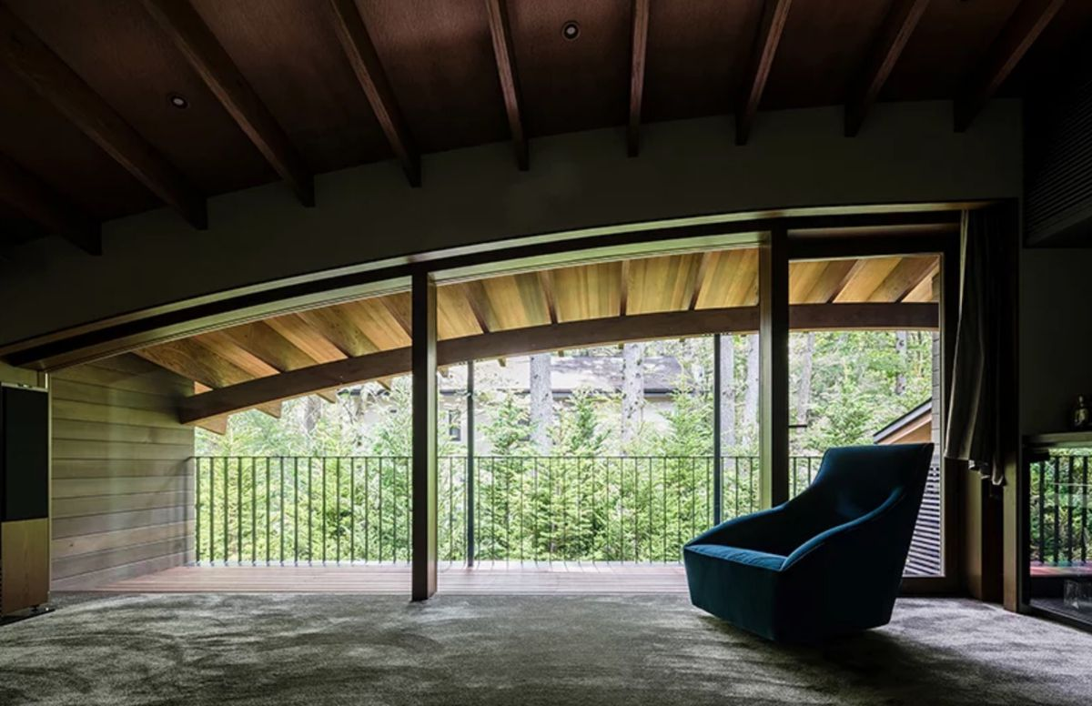Bedroom with curved timber ceiling
