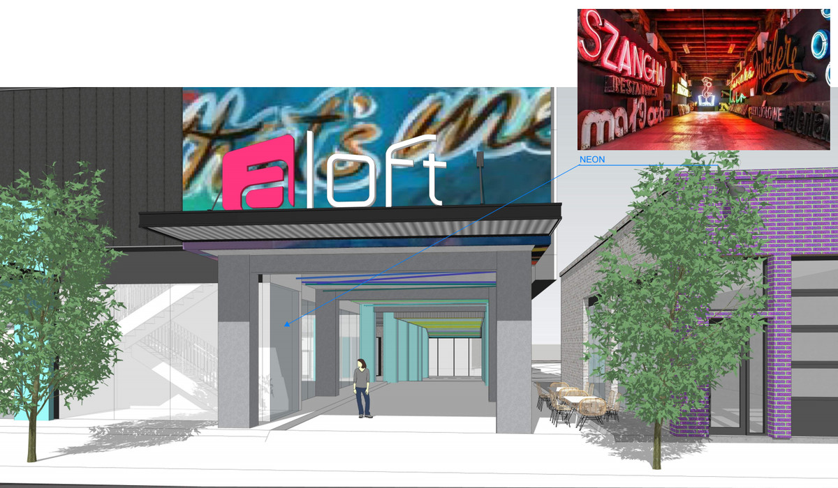 A rendering of a pass-through shows how art and neon lights would be incorporated, along with trees.