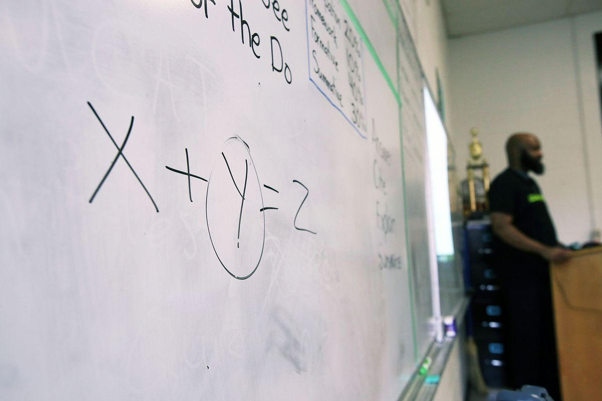 A teacher leads his math class this spring at Hillcrest High School in Memphis. High school math teachers and teachers of color are both in demand in Tennessee.