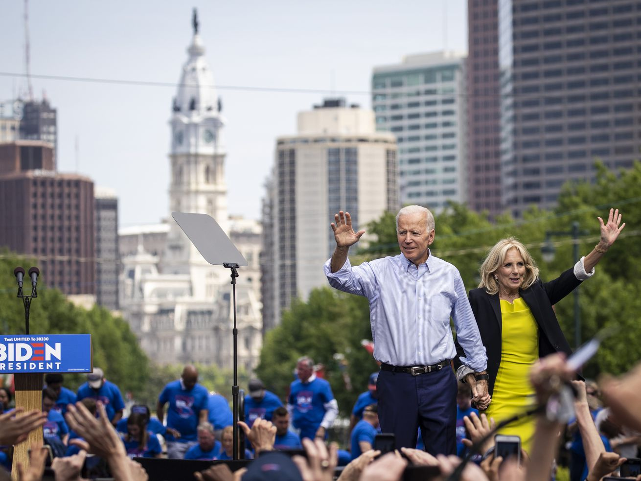 Joe and Jill Biden at his official presidential campaign kickoff rally In Philadelphia