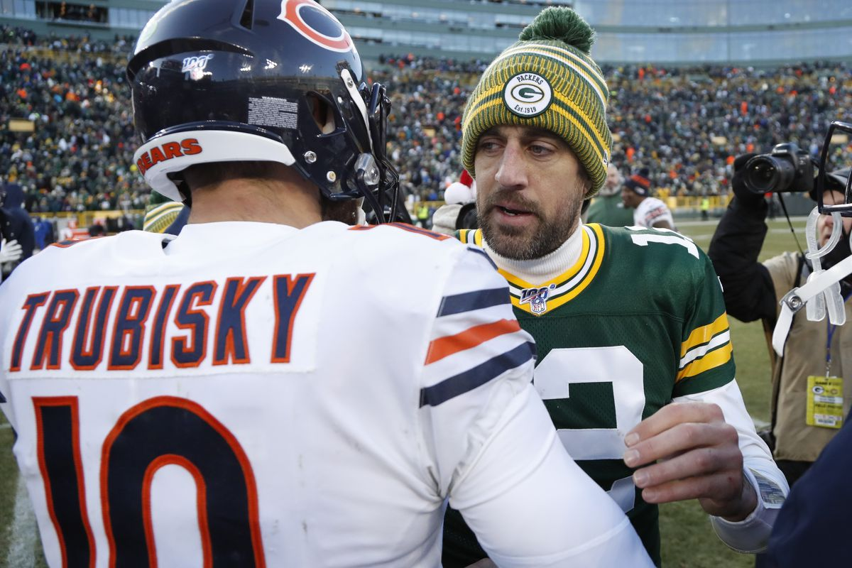 In five career matchups, Mitch Trubisky (left) has one win against Aaron Rodgers (right). They meet Sunday with major playoff implications.