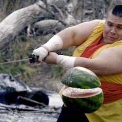 Christian Busath as the Fruit Ninja in Scott Winn's YouTube video.