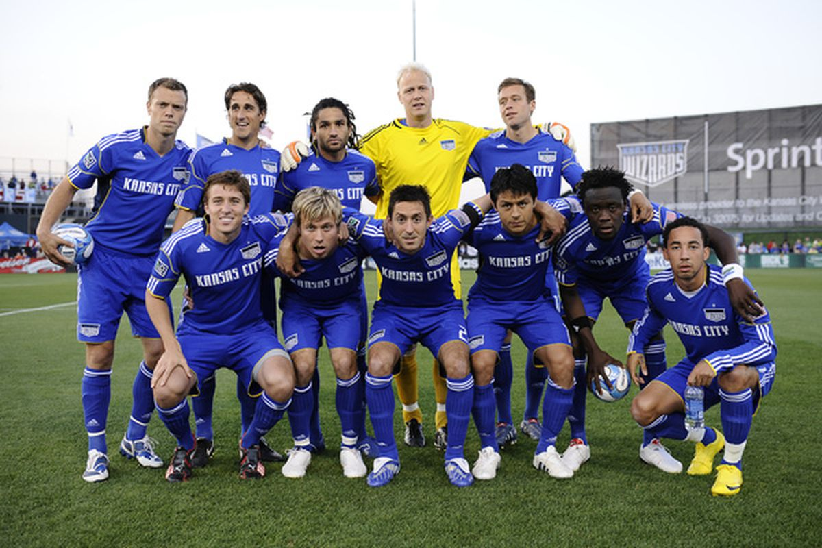 KANSAS CITY, MO - APRIL 10: The starting lineup of the Kansas City Wizards pose prior to a game against the Colorado Rapids on April 10, 2010 at Community America Park in Kansas City, Kansas. (Photo by G. Newman Lowrance/Getty Images)
