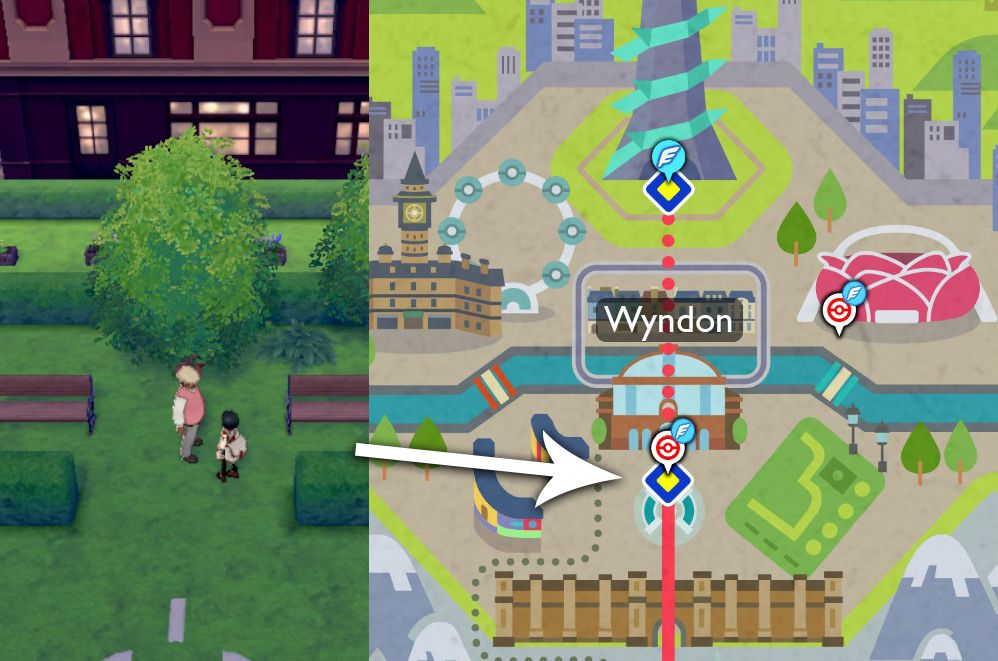 An arrow points out that the Ultimate Move Tutor is found in Wyndon