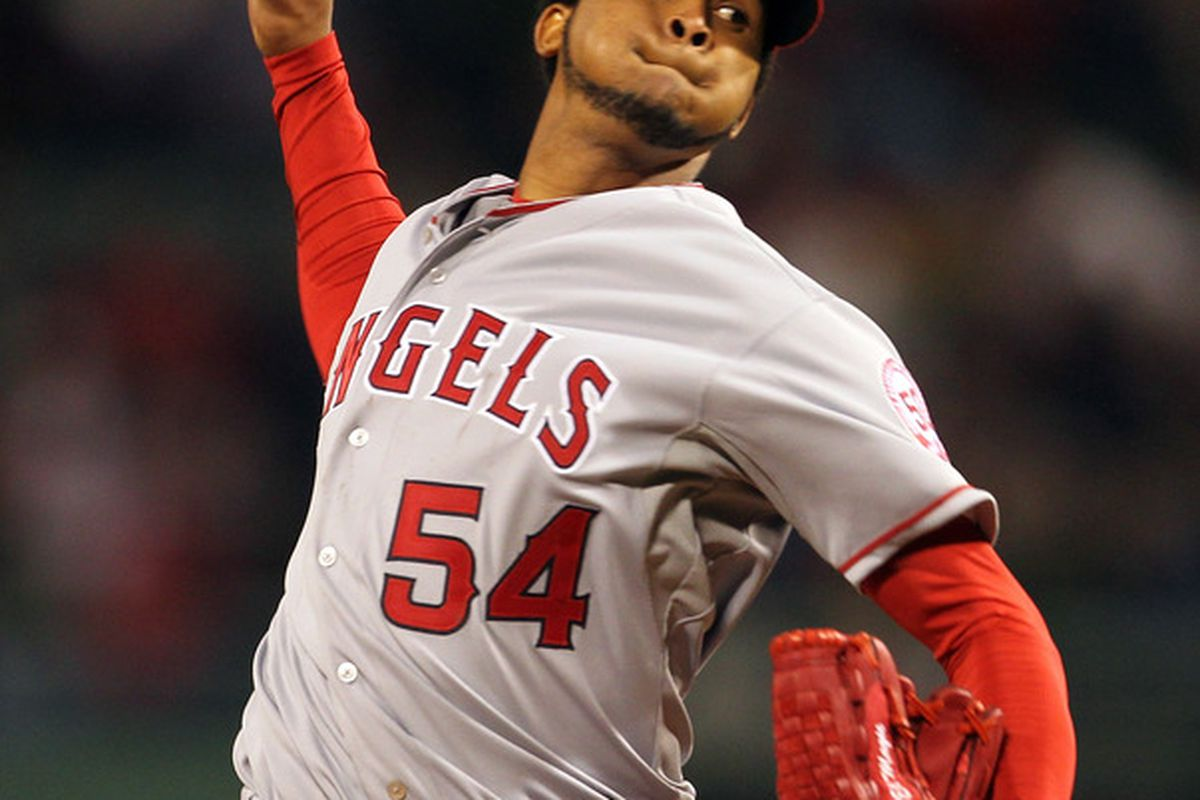 BOSTON, MA - MAY 4:  Ervin Santana #54 of the Los Angeles Angels of Anaheim pitches against the Boston Red Sox at Fenway Park on May 4, 2011 in Boston, Massachusetts. (Photo by Jim Rogash/Getty Images)