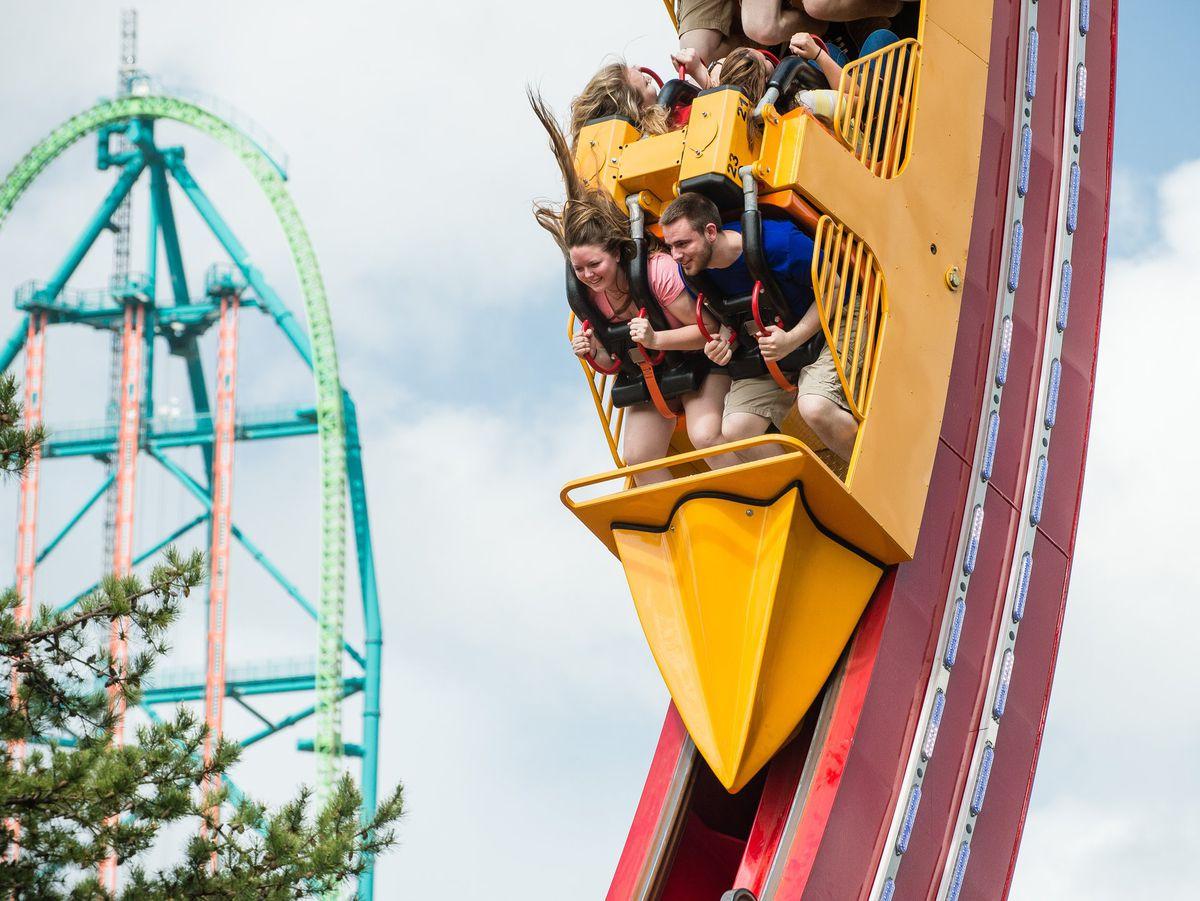 six flags roller coaster kids having fun