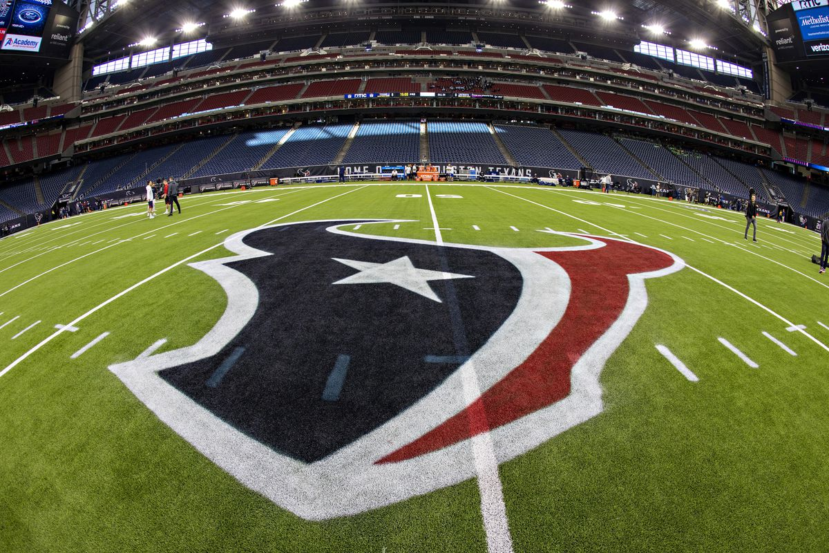 Logo of the Houston Texans painted on the field before a game against the New England Patriots at NRG Stadium on December 1, 2019 in Houston, Texas. The Texans defeated the Patriots 28-22.