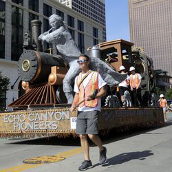 The Latter-day Saint South Jordan Garden Park Stake makes its way along the Days of '47 Parade route in Salt Lake City on Friday, July 23, 2021. The float won the Sweepstakes Award, scoring the highest in all five elements of judging — theme, aesthetics, originality, craftsmanship and special effects.