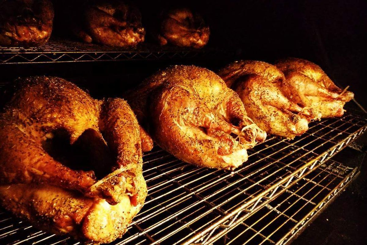 Barbecued chicken.