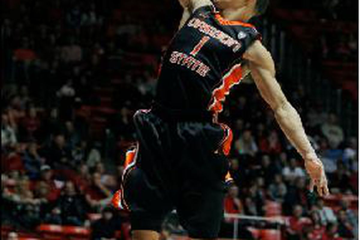 Jared Cunningham got back to his high flying ways, with a game high 20 points in Oregon St.'s 76-58 win over Utah. <em>(AP photo by Steve Wilson)</em>