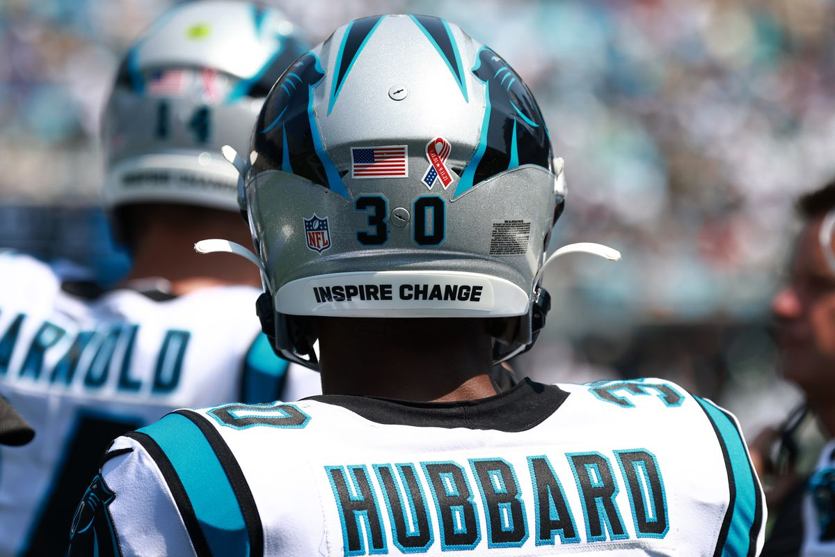 Chuba Hubbard #30 of the Carolina Panthers is seen during the game against the New York Jets at Bank of America Stadium on September 12, 2021 in Charlotte, North Carolina.