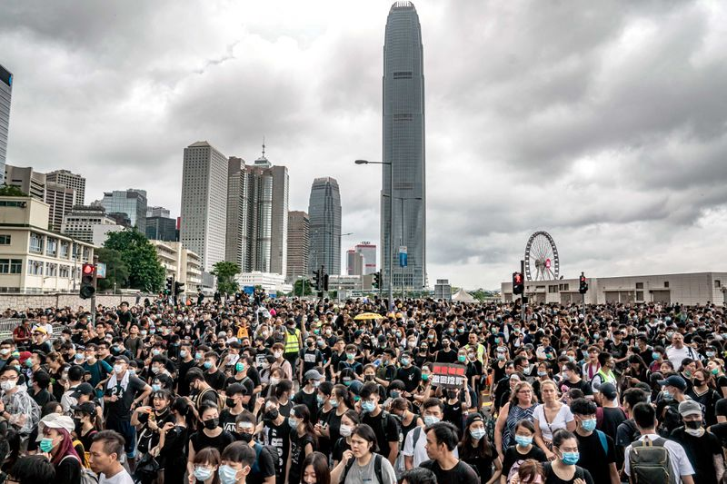 Protesters in the streets in Hong Kong.