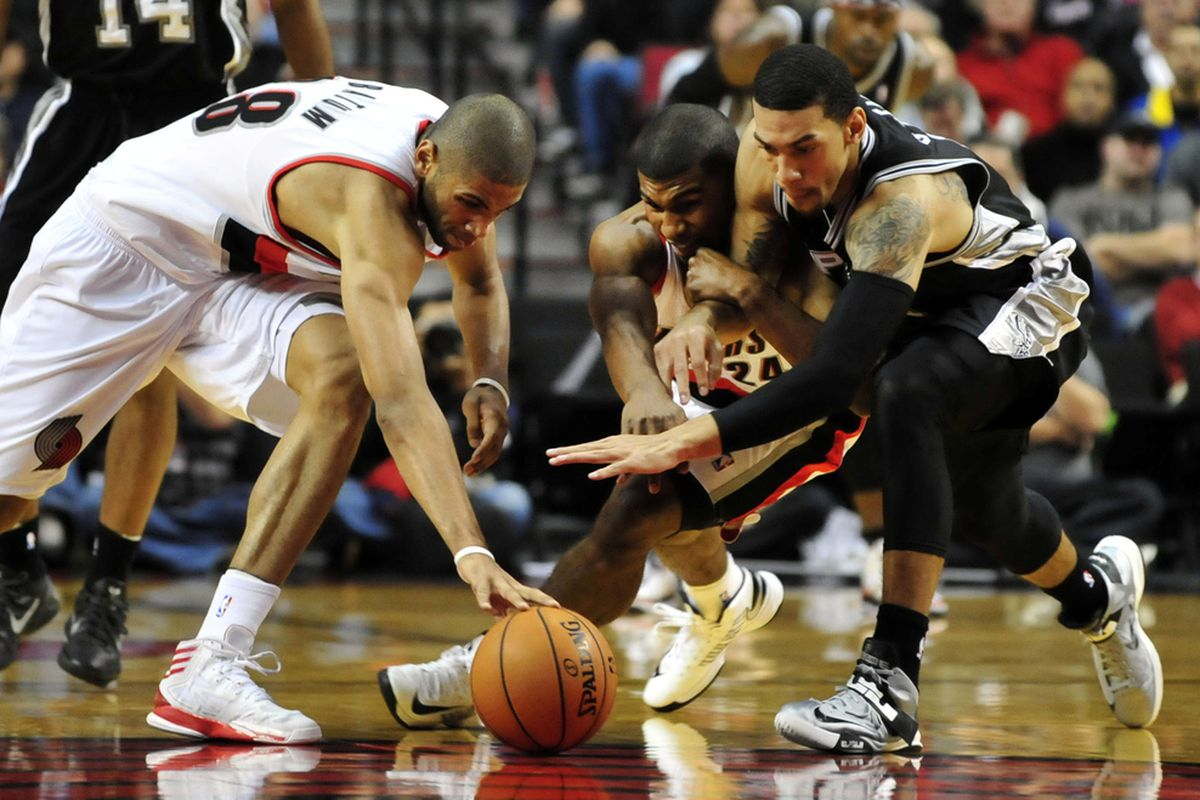 Batum beats Price and Hill in a race to be the first to pet the basketball.