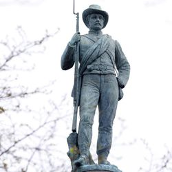 """The Confederate Soldiers and Sailors Monument was dedicated May 30, 1894 on Libbie Hill terrace in Richmond, Va., Tuesday, April 14, 2015.  Known as the """"Single Soldier,"""" """"Silent Sentinel"""" or similar names depending on the locale, he tops many of the thousands of Civil War monuments to be found in more than 30 states."""