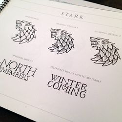 Here's the Stark direwolf, with the house mottos below
